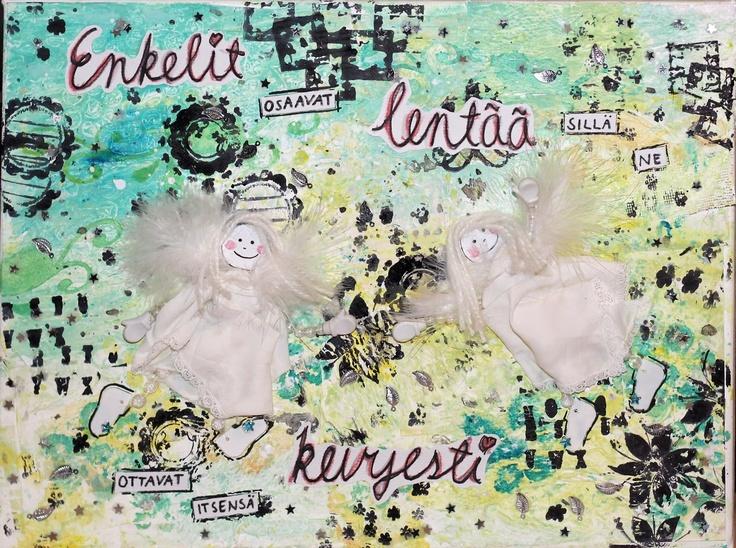mixed media canvas, angels