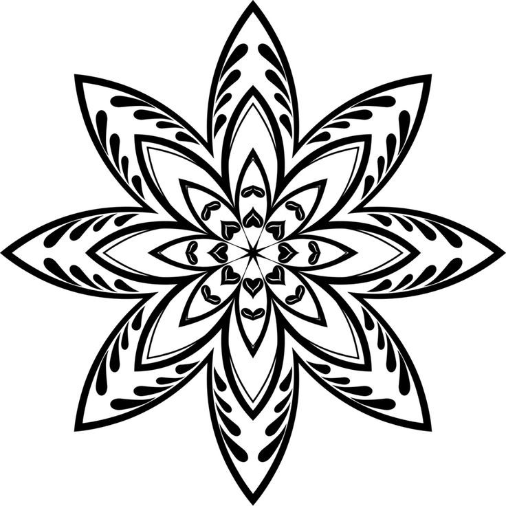 Geometric Star Coloring Page Line art flowers, Flower