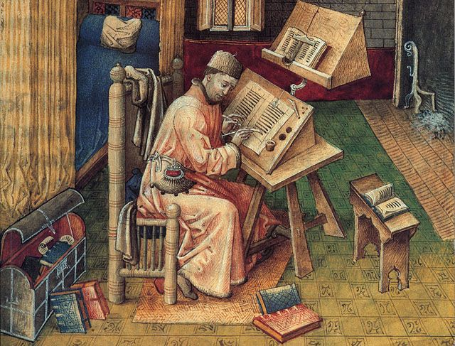The scribe in the painting was Jean Nelieot, scribe to the Duke of Burgundy, shown in his private workroom. He produced some of the best writing in Europe at that time. One of his self-portraits, above, is taken from the cover of the book Medieval Craftsmen, Scribes and Illuminators, published 1992 by British Museum Press.