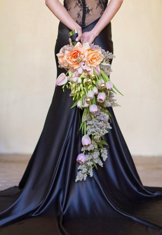 Cascading wedding bouquet with lilac and orange flowers - Catherine Mac Photography