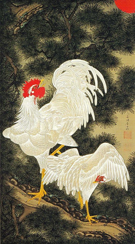 老松白鶏図 Rosho Hakkei-zu(Old Pine Tree, White Rooster and Hen)