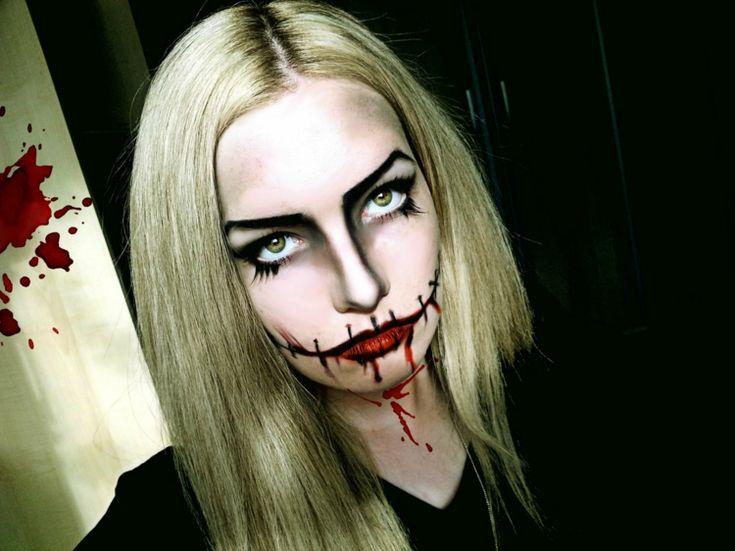 halloween gesichter schminken vampir kostuem damen naht imitation