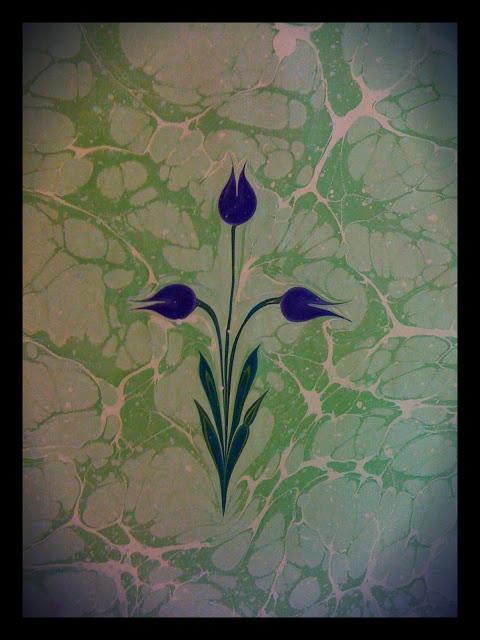 Purple tulips made by Pinpine   http://pinpines.blogspot.com/p/marbling-art-ebru-sanat.html