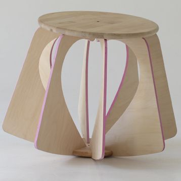 """NINA-Raspberry"" active stool with pink edges, by melinda molnaar"