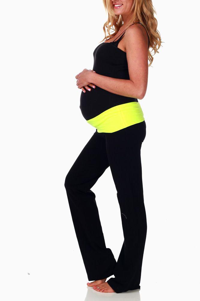 YellowWaistbandMaternityYogaPants Maternity yoga