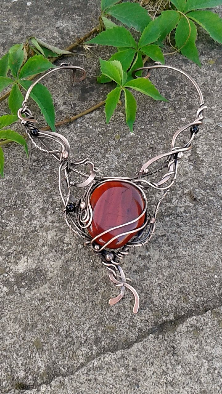 Copper wire fairy necklace with natural Red Jasper stone inspired by nature,Wire wrapped necklace,Wire jewelry,Fairy necklace by Tangledworld on Etsy
