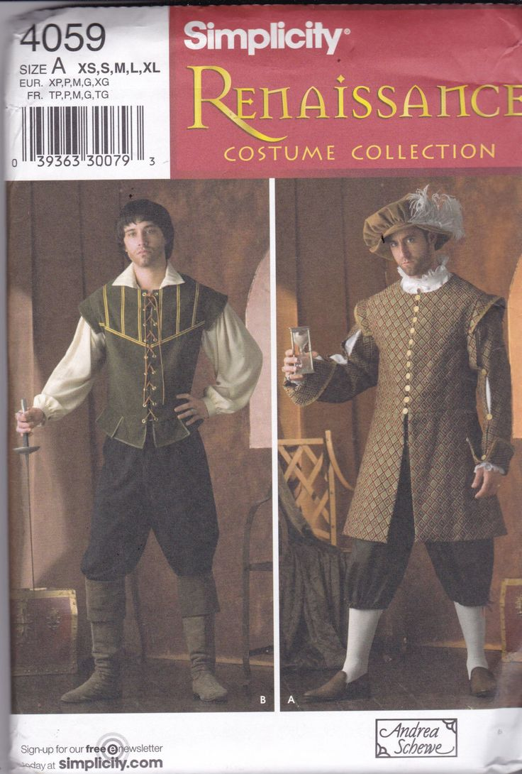 Simplicity 4059 Costume Pattern Mens Renaissance Costume SIze X Sm, Sm, Med, Lg, X Lg UNCUT by AlwaysFeelingHappy on Etsy https://www.etsy.com/listing/491367735/simplicity-4059-costume-pattern-mens