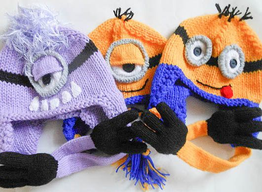 Knitting Pattern for Minion Earflap Hats