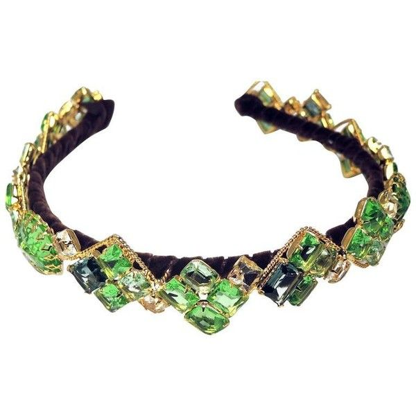 Preowned Robert Sorrell One-of-a-kind Green Jeweled Headband ($700) ❤ liked on Polyvore featuring accessories, hair accessories, green, jewelry, velvet hairband, green hair accessories, clear headband, head wrap headbands and velvet headband