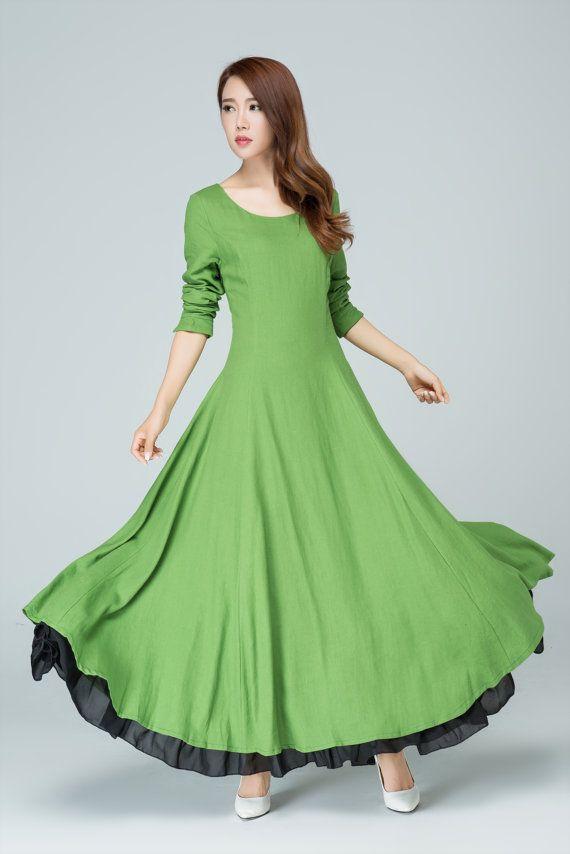grünes Leinen Kleid Langarm Kleid Abschlussballkleid von xiaolizi