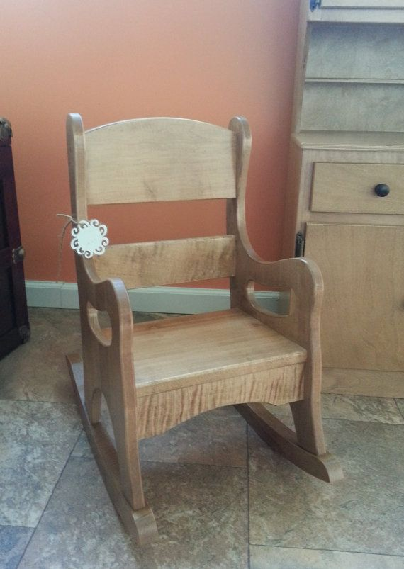 Childrens Wooden Rocking Chair Solid Maple Wood Rocker Amish Handcrafted  American Made Room Furniture Office Prop