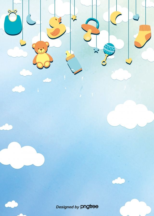 Acessorios De Bebe Fofo Pendurado Fundo Baby Scrapbook Illustration Stationery Kids Background