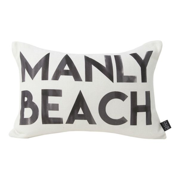 Inspired by the Northern Beaches, the Manly Cushion has black water colour block lettering on a crisp white base fabric. Clean and bright it's the perfect