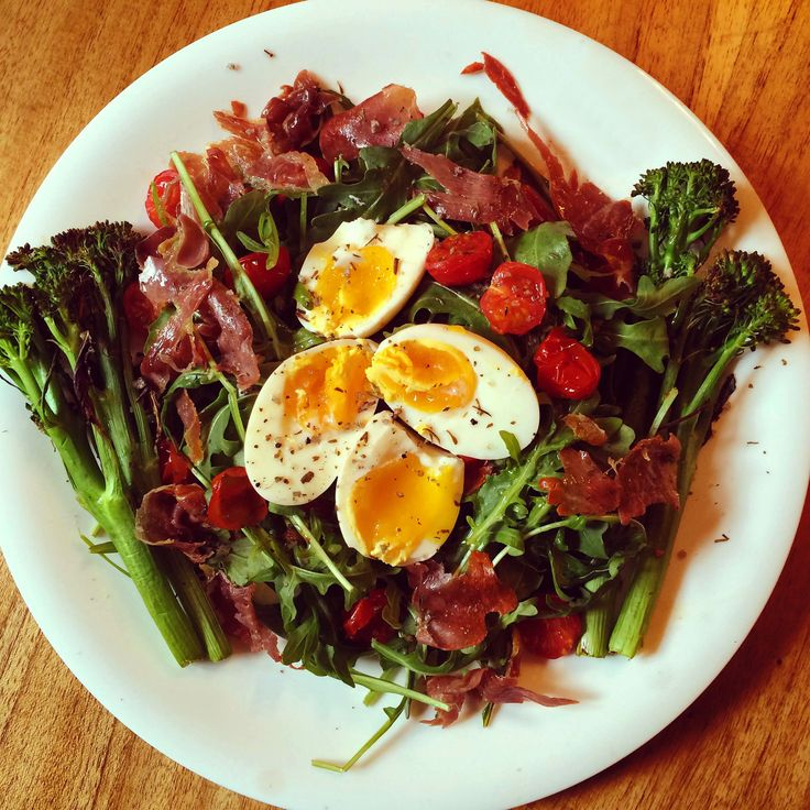 Boiled Eggs with Grilled Parma Ham and Greens - eggs, Parma ham, fresh rocket, baby tomatoes, tenderstem broccoli