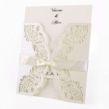 10 компл. * лазерная резка комплект белый / слоновая кость розовыми цветами свадебные конверты пригласительный билет(China (Mainland))