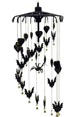 Spider and Bat wind chime - we have one almost like it, with vampires and coffins instead of hearts and spiders!!