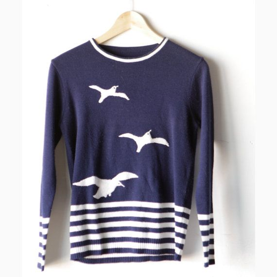 vintage WOMEN'S sailing BEACH pullover 60s sweater navy blue and white on Etsy, $36.00