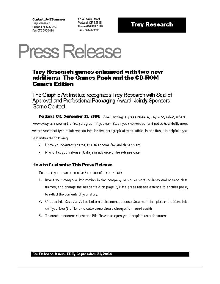 Press release example new game Download this Press