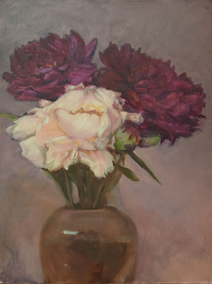 "Donald Burrow. ""Peonies 1"". floral still life from direct observation. Nov 2015. Oil on panel, 30 x40 cm."