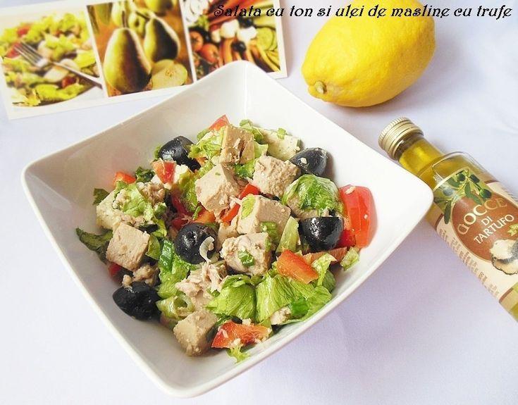Reteta culinara Salata cu ton si ulei de masline cu trufe din categoria Salate. Cu specific romanesc.. Cum sa faci Salata cu ton si ulei de masline cu trufe