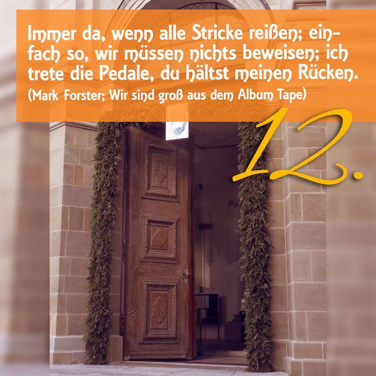 Zitat zum Advent Mark Forster Wir sind groß aus Album TAPE, Kirchentüre: Basilika St Martin Weingarten in Baden-Württemberg