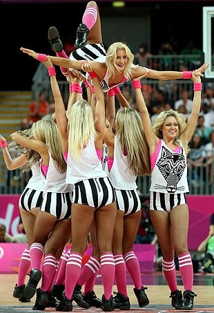 So beach  regular volleyball, basketball  handball have cheerleaders?! Why aren't they showing us this!!