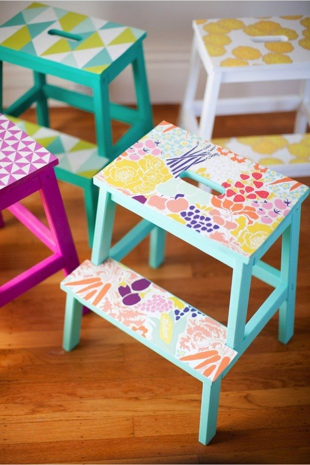 Brighten up a Bekväm step stool with a few sheets of removable wallpaper.