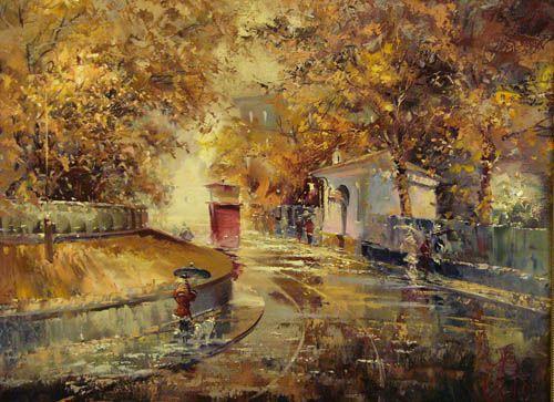 Осенний трамвай- картина художника Павла Пеньковского - холст, масло, 60х80, 2005г.