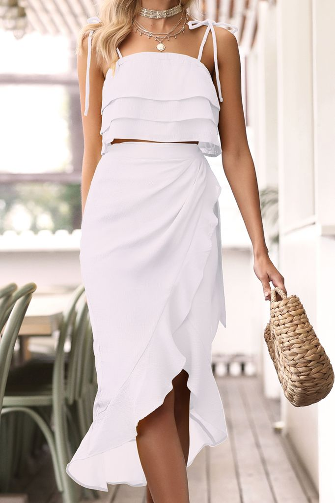 White wrap skirt from Runaway the Label.