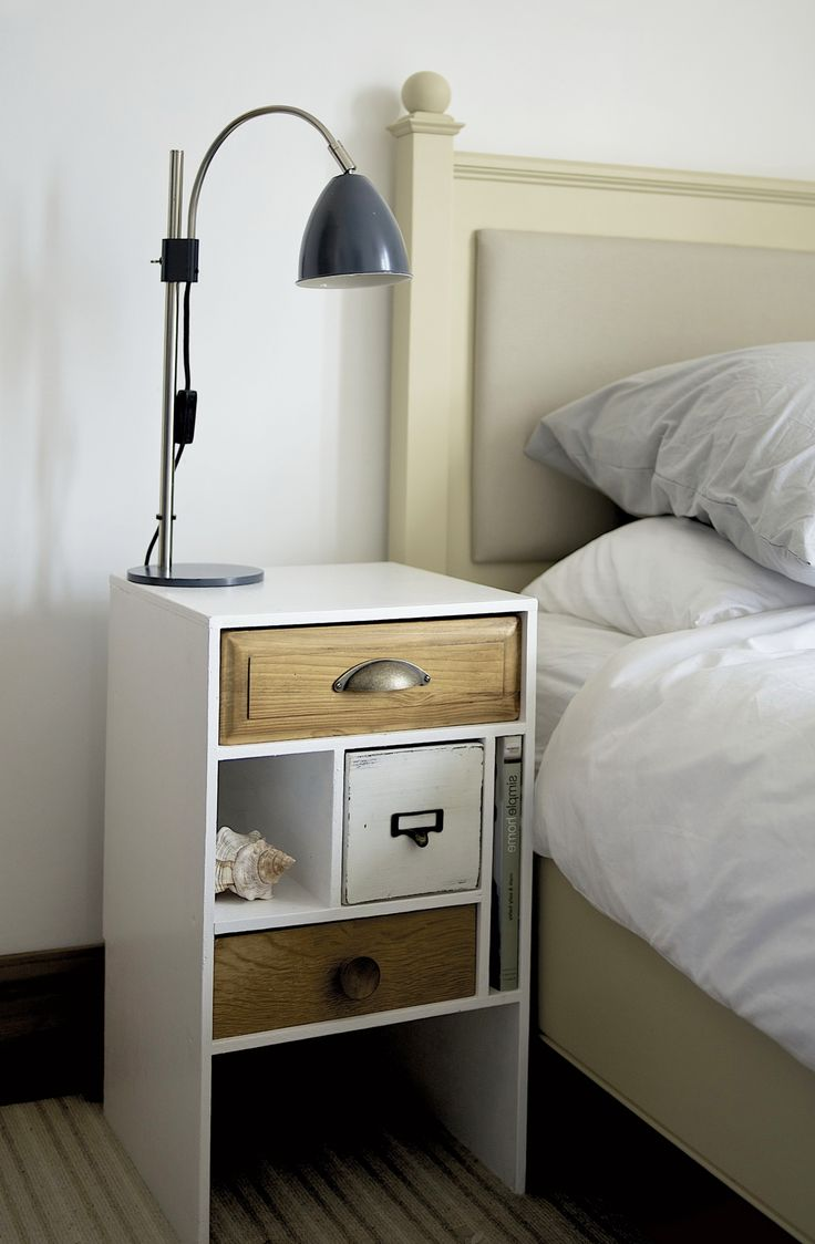 White and wooden nightstand make your master bedroom for How to make a nightstand higher