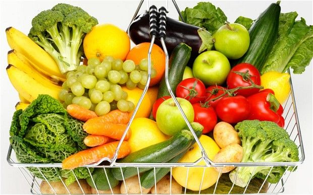 Food shopping in basket, fruit and vegetables -- Broccoli, Tomatoes, Grapes, Zucchini, Bananas, White Potatoes, Romaine Lettuce, Eggplant, Lemons, Oranges, Granny Smith Apples, Spaghetti Squash