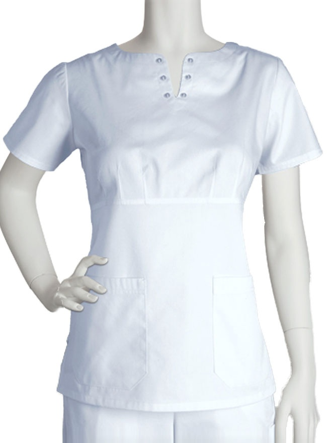 Simply stylish and smartly designed, this Barco Prima top is indeed a prime white scrub. This uniform comes with a midriff accented by a notched neckline.