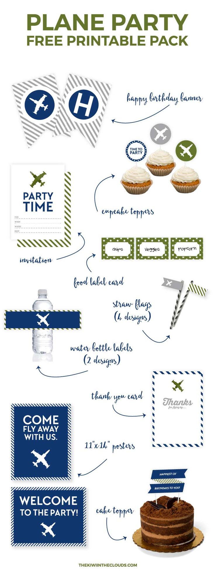Put together that airplane birthday party that your little boy has always dreamed of in an instant with this 30 piece free printable party package. Click through to download now.