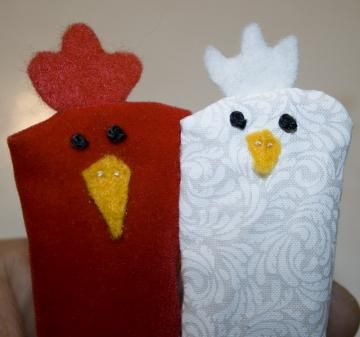 Rooster and Hen Finger Puppet Pair by CreativeMiscellany for $10.00