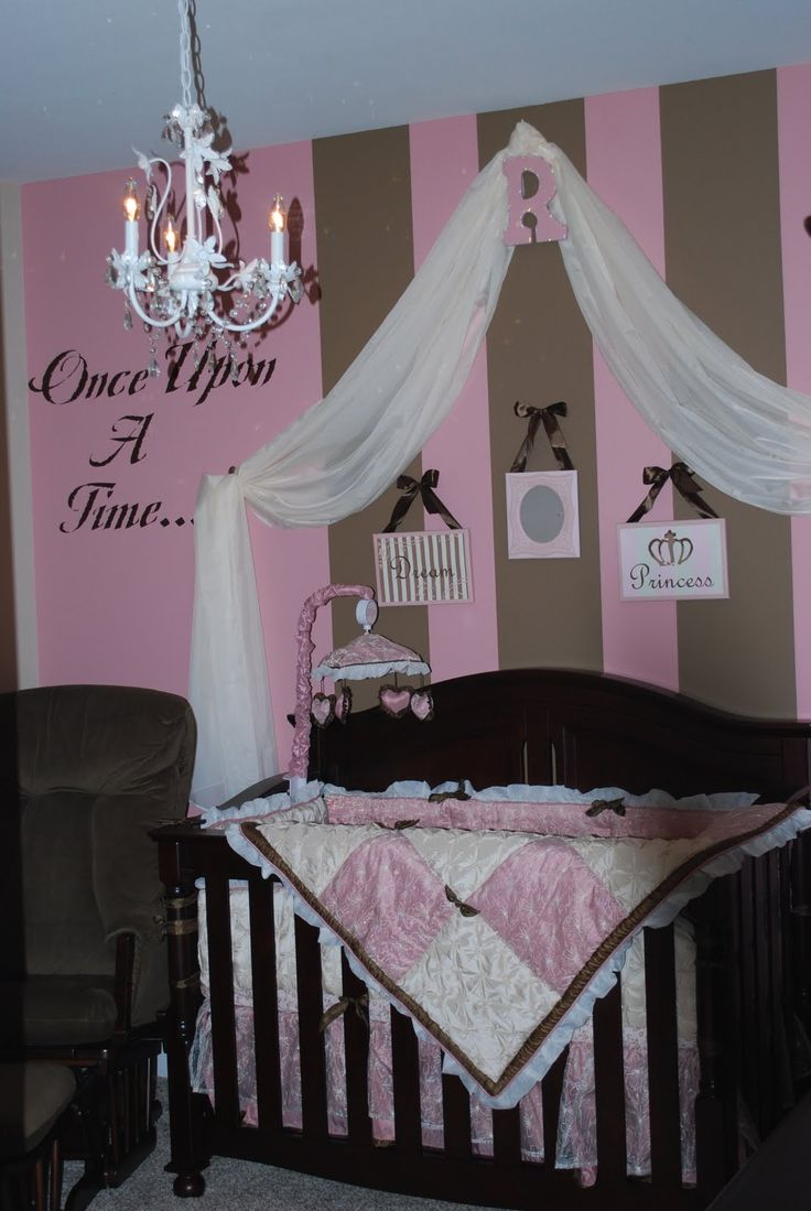 Bedroom Designs, The Awesome White Chandelier With Some Candles With Pink  Brown Wall Cute Baby Rooms Ideas: Cartoon Figure In Cute Baby Rooms