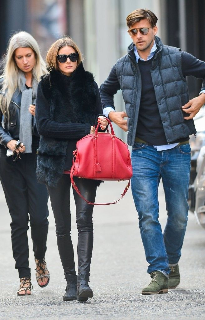 Olivia Palermo and her boyfriend Johannes Huebl out with friends in NYC on October 14, 2013.