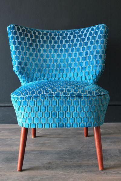 Upcycled 1950s Bartolomew Cocktail Chair - Teal Blue Underground Velvet
