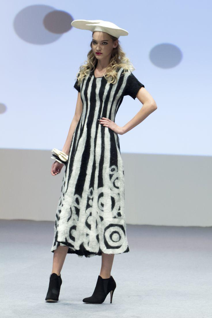 Felt dress, felt beret and felt bangle. Recycled wool.