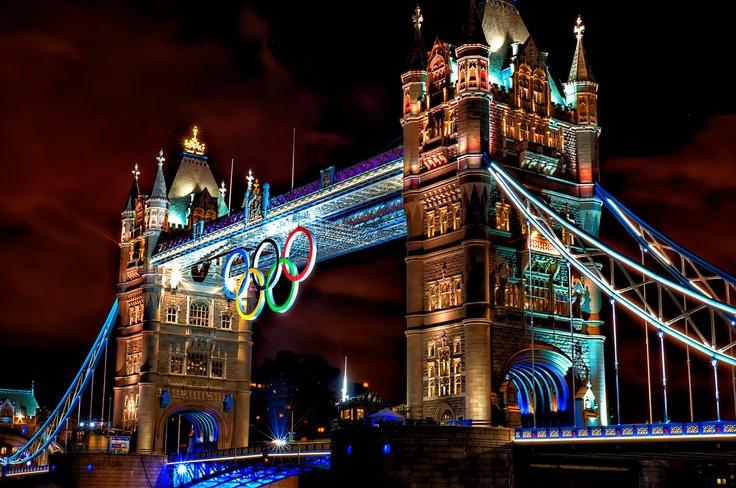 Olympic Rings on London Tower Bridge - 2012