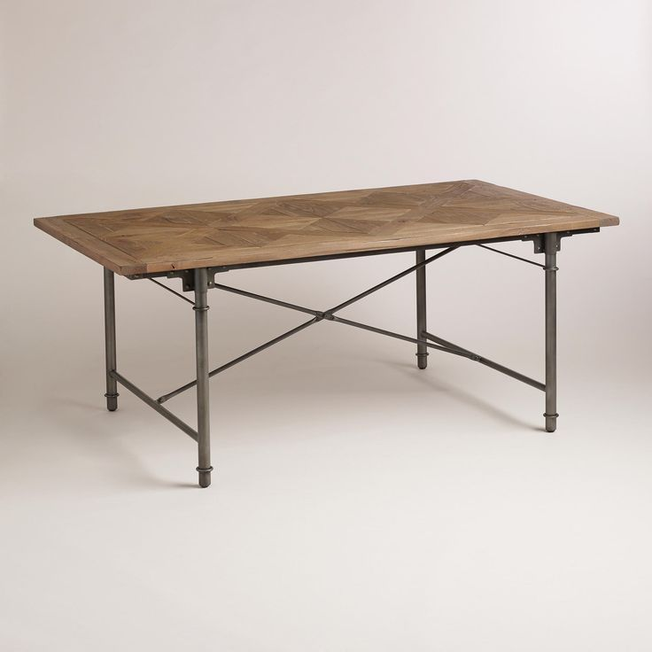 Cost Plus Industrial Coffee Table: Chevron Parquet Dining Table