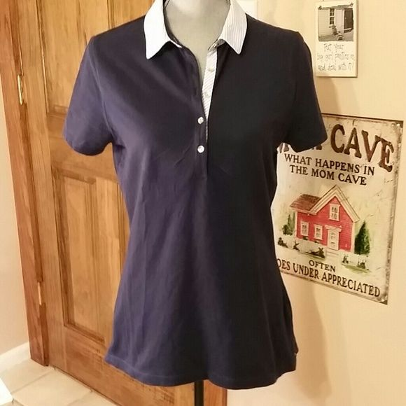 TOMMY HILFIGER POLO SHIRT Navy blue with Oxford blue stripes Gold tiny buttons Women's Tommy Hilfiger Tops