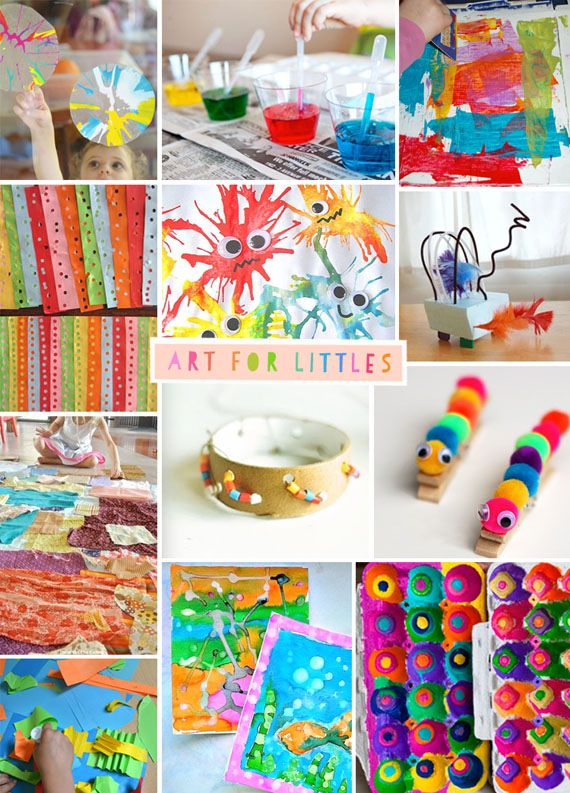Tons of creative art projects for preschoolers. I LOVE the bright colors! {Art Bar}