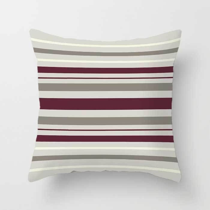 Burgundy, Wine, Gray Decorative Pillow