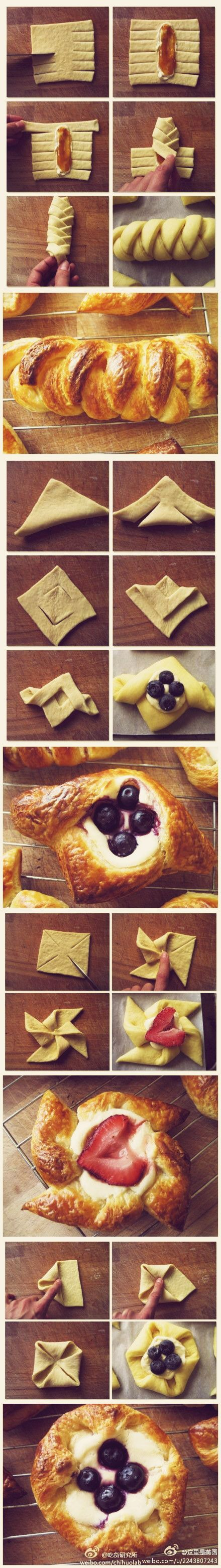 Pastry folding methods. Danish, pinwheel, more.