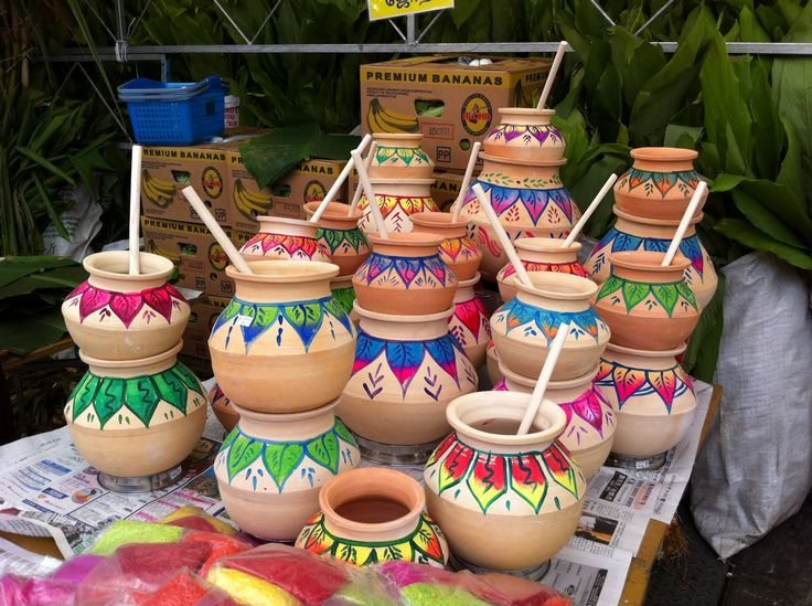 14 jan 2013 pongal clay pot decorations for pongal for Art and craft pot decoration