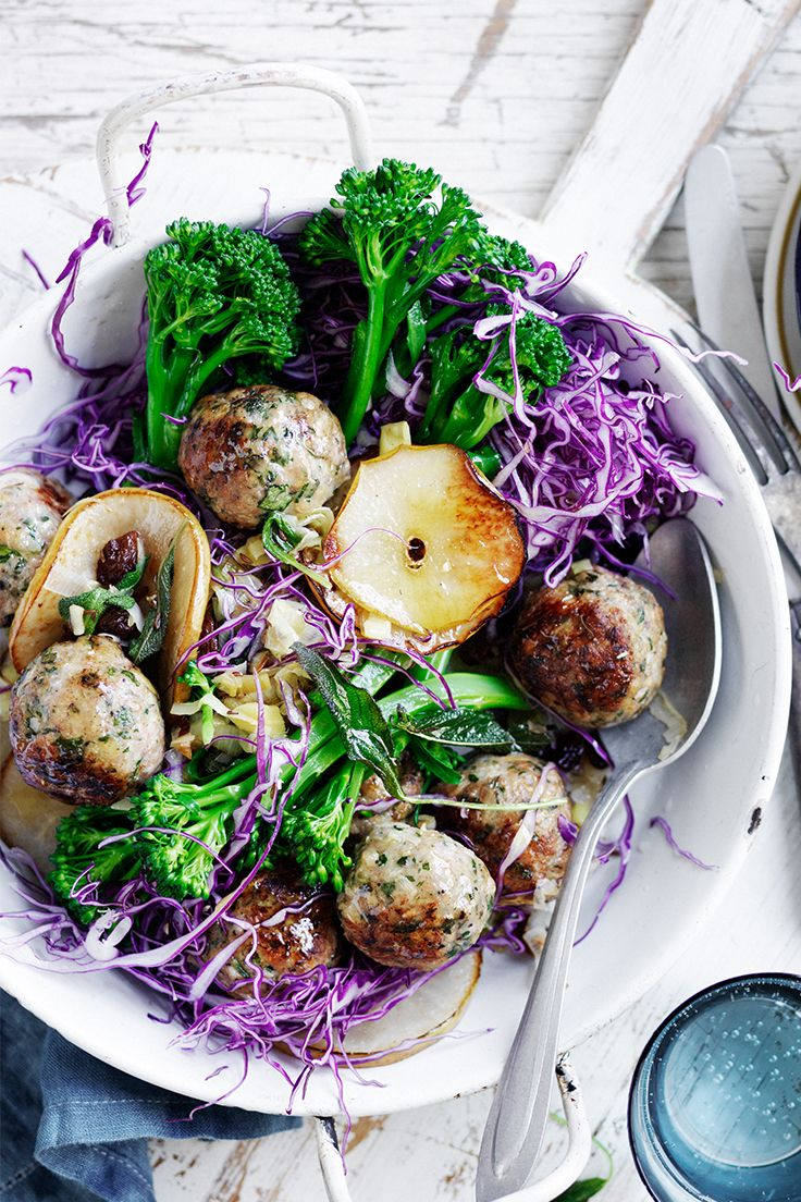 Healthy dinners don't have to be dull! These lean chicken meatballs from The Australian Women's Weekly's 'Fast Favourite Dinners' cookbook are served with a big portion of veg for a satisfying meal.
