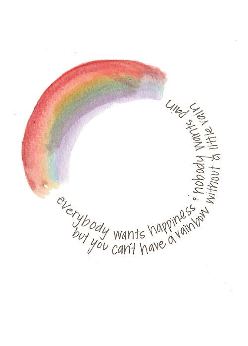 Everybody wants happiness & nobody wants pain, but you can't have a rainbow without a little rain. - Graphic by Nicole Miyuki Santo