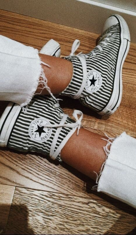 Striped Converse Converse Hi Top Hi Top Sneakers