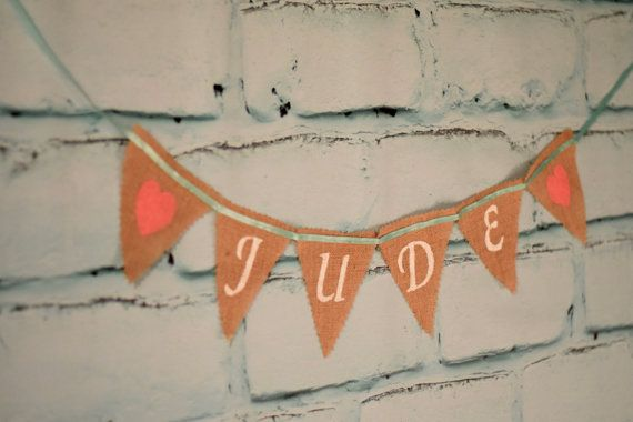 Coral and Aqua Name Banner Pink and aqua by RusticDaisyDesigns