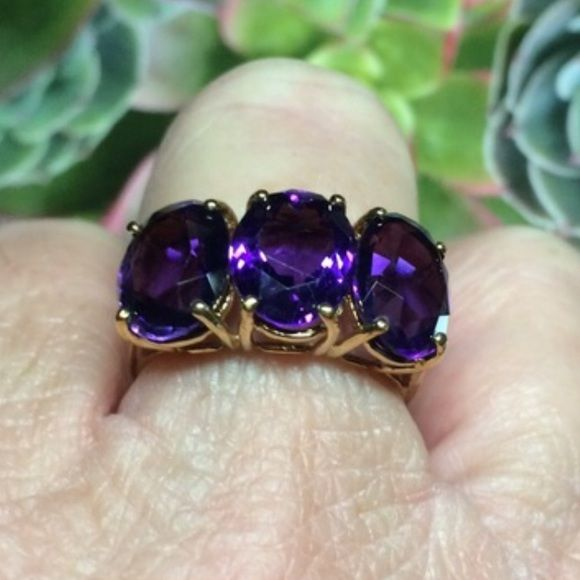 Spotted while shopping on Poshmark: 3 Oval Amethyst Ring! #poshmark #fashion #shopping #style #Jewelry